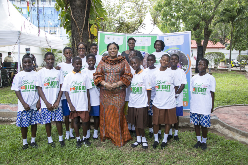 H.E The First Lady with a section of School children at the event.